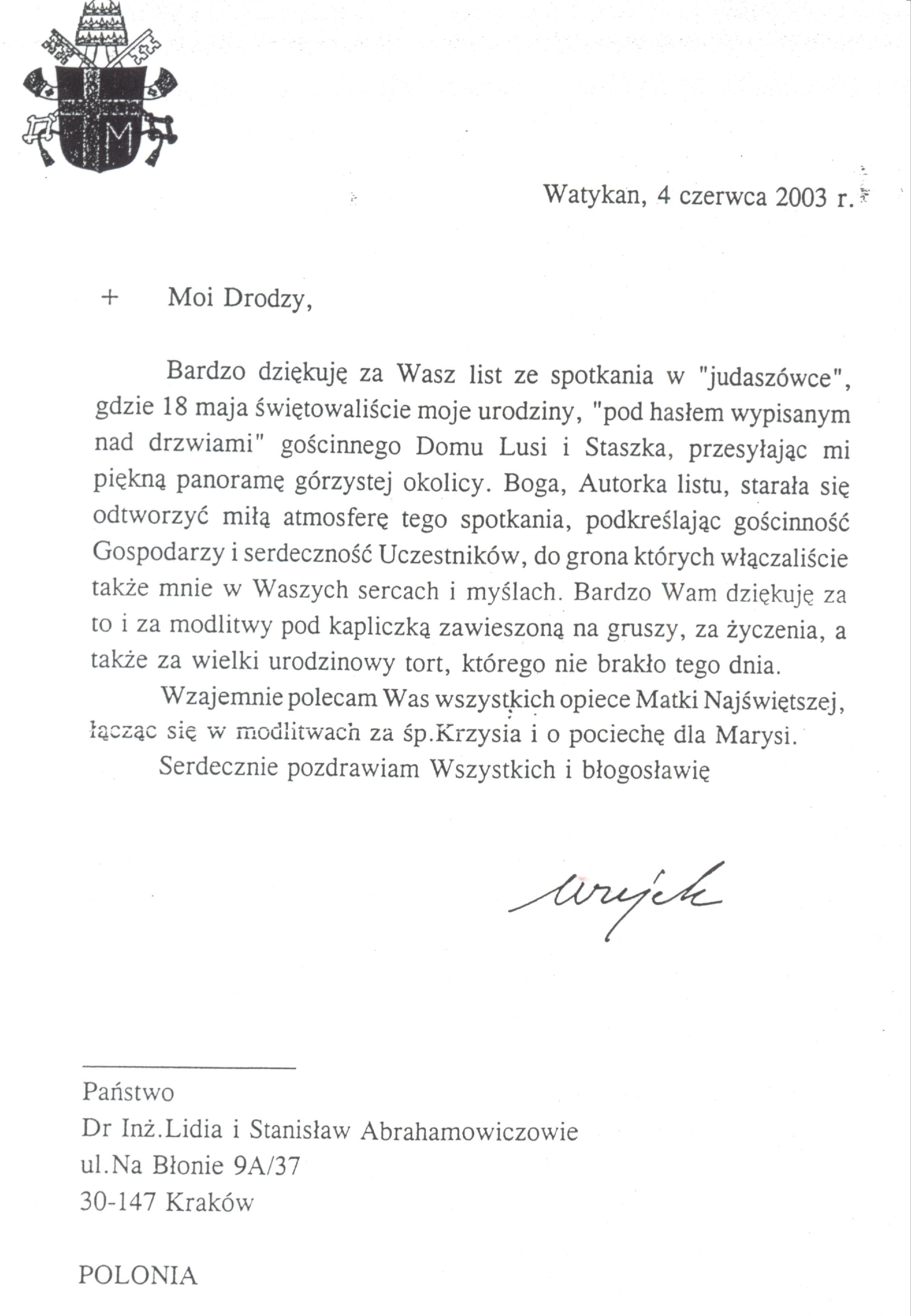 List z Watykanu