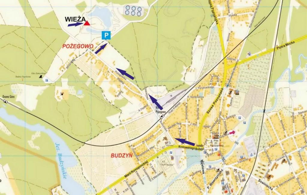 wieża widokowa w Mosinie mapa dojazdu