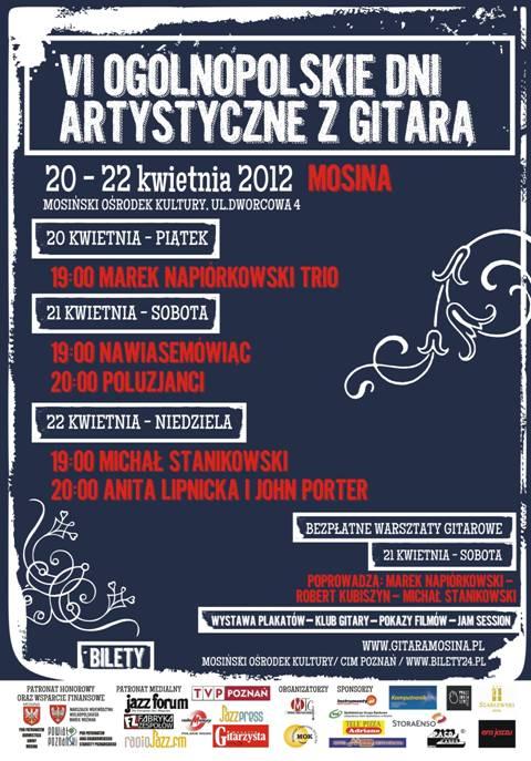 Plakat VI Ogólnopolskich Dni Artystycznych z Gitarą w Mosinie
