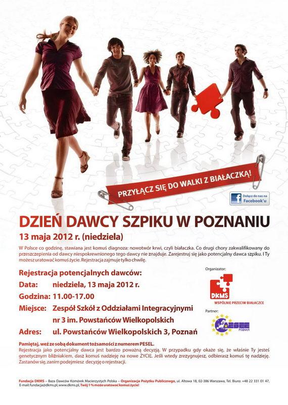 Dzień dawcy Szpiku w Poznaniu - plakat informacyjny