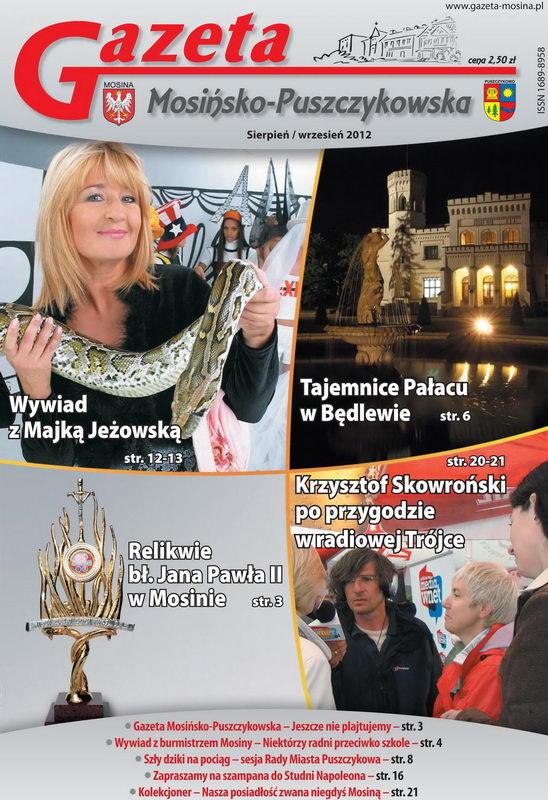 Wydanie sierpniowe Gazety Mosińsko-Puszczykowskiej, Puszczykowo i gmina Mosina.