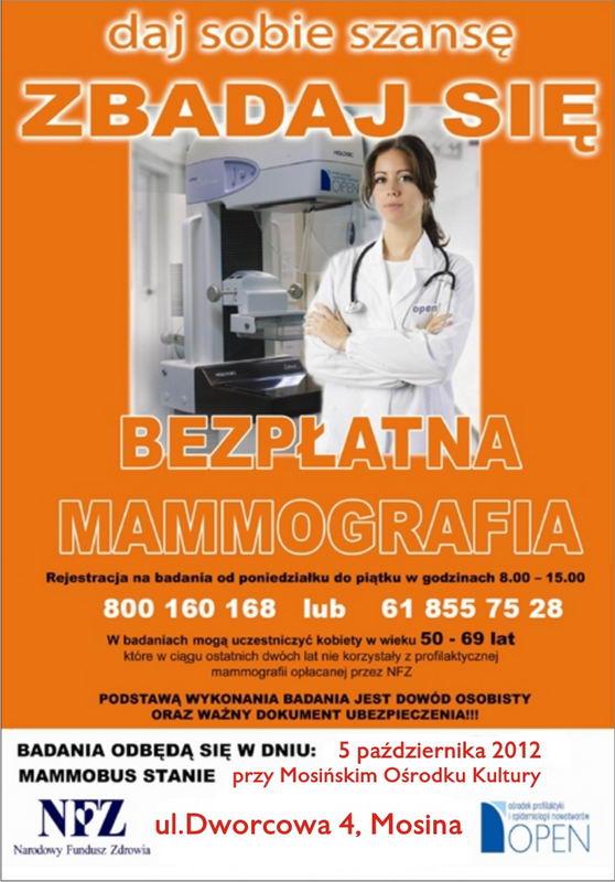 mammografia w Mosinie