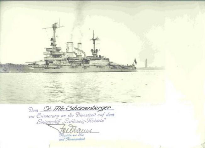 Pancernik Schleswig-Holstein - Oryginalny dyplom z 1936 r. dla marynarza który wykonał album