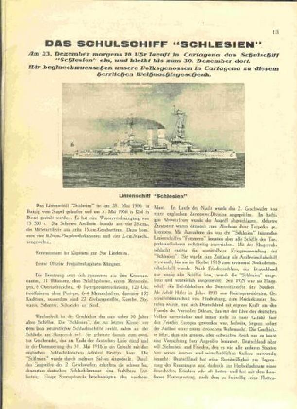 Gazeta z lat 1936 bogato obrazujące dzieje i rejs pancernika Pancernik Schleswig-Holstein