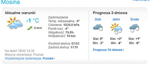 Prognoza pogody Mosina - Foreca