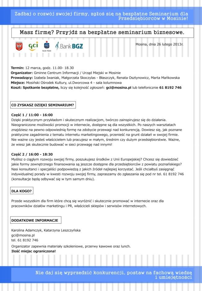 seminarium biznesowe w Mosinie