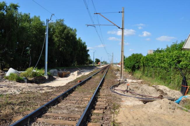 Remont trasy kolejowej - widok na tory