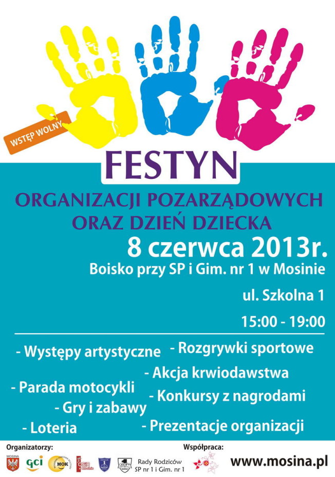 plakat dotyczący organizacji Gminnego Dnia Dziecka w Mosinie oraz Festynu Organizacji Pozarządowych