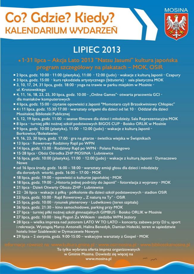 kalendarz imprez w gminie Mosina - lipiec 2013