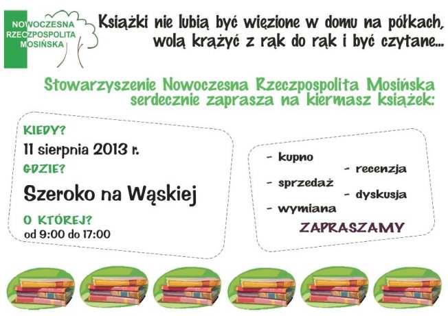 kiermasz książki Mosina - Szeroko na Wąskiej