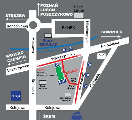Przychodnia Eskulap ul. Wawrzyniaka 13 Mosina - mapa dojazdu