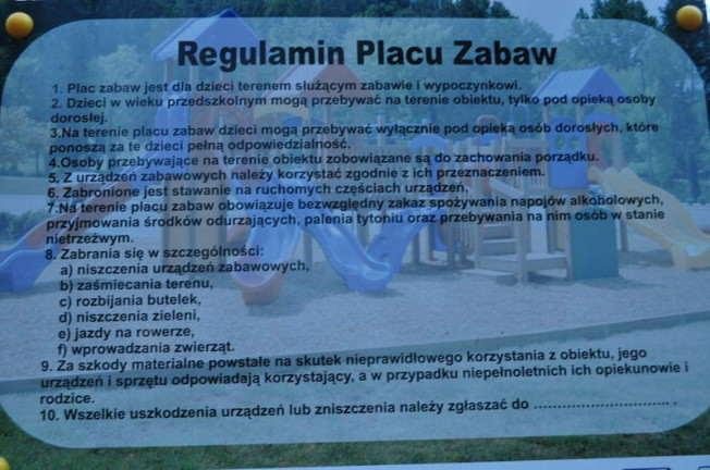 regulamin placu zabaw w ptasim parku w Mosinie