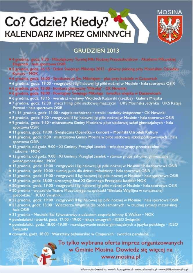Kalendarium wydarzeń w Gminie Mosina na grudzień