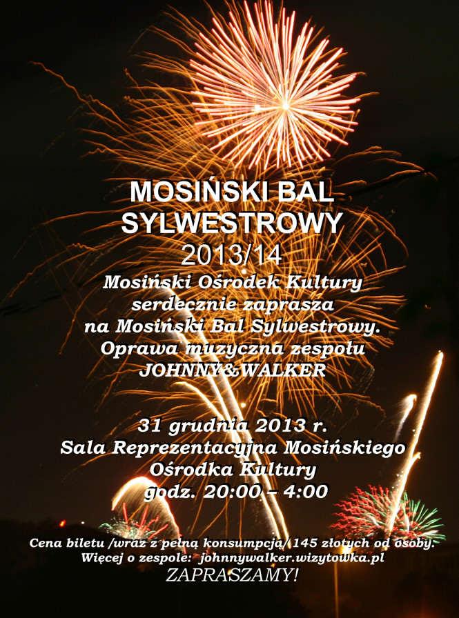sylwester 2013 - mosiński bal sylwestrowy - plakat