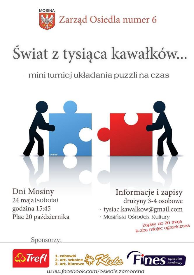 plakat duży - układanie puzzli na czas