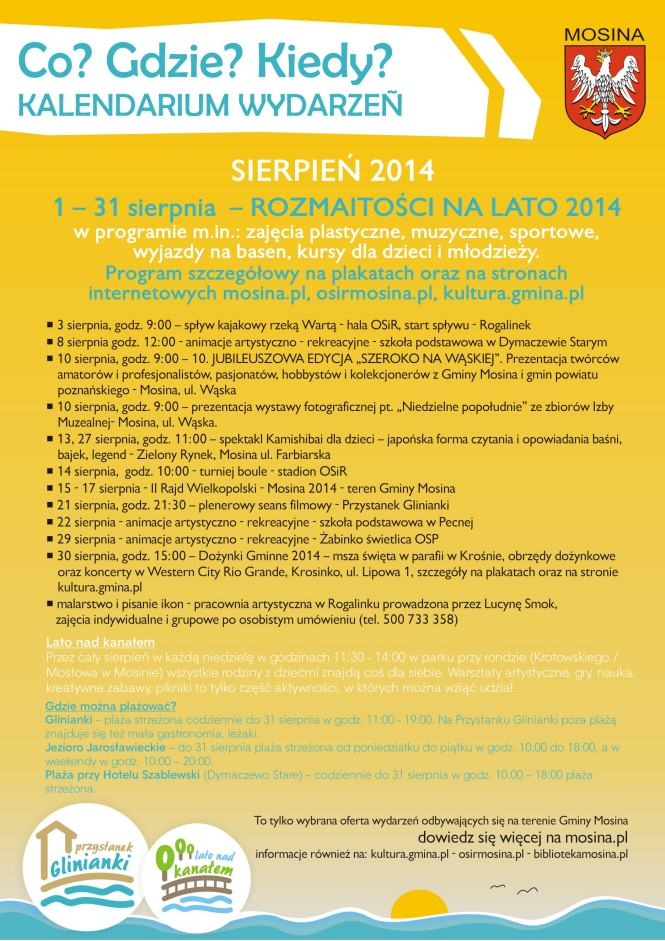 Kalendarz imprez - sierpień 2014
