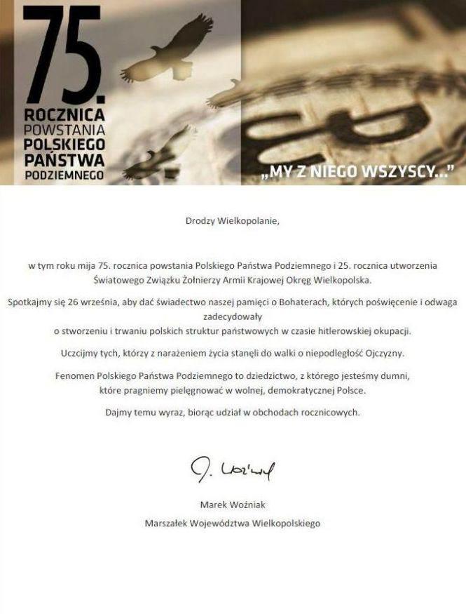 uroczystość 75. rocznicy powstania Polskiego Państwa Podziemnego