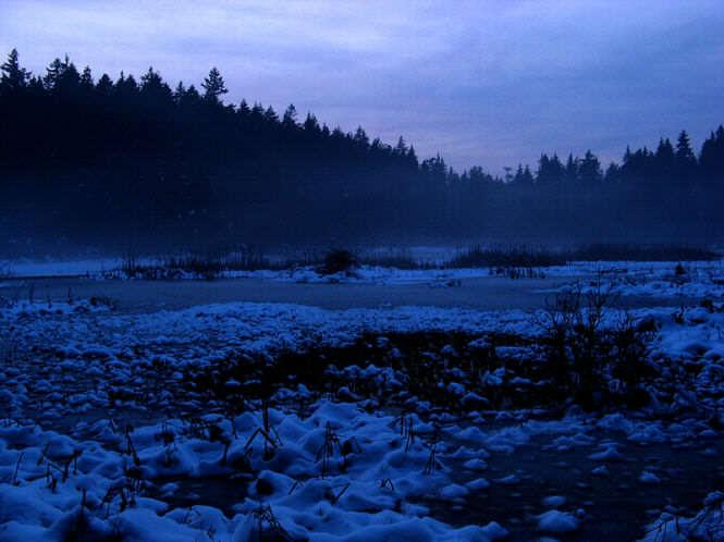 mróz na jeziorze; zima