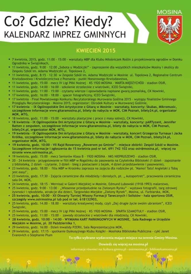 kalendarz wydarzeń w gminie Mosina kwiecień 2015