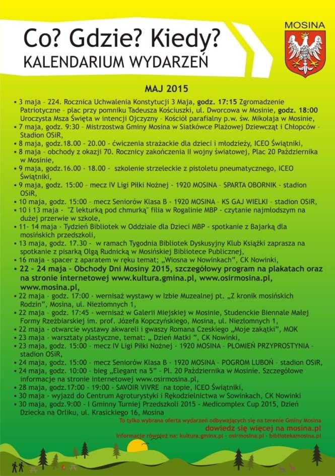 maj kalendarz Mosina