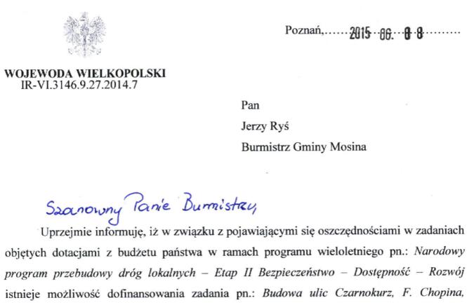 list do burmistrza Mosiny