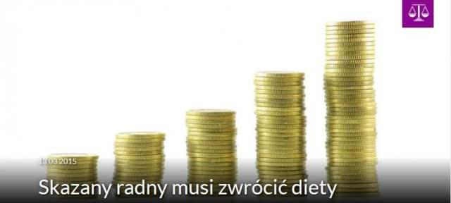 Skazany radny musi zwrócić diety