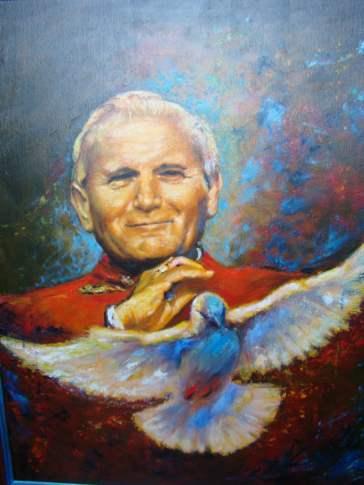 Awangarda Lucyna Smok Papież św. Jan Paweł II Niech zstąpi Duch Twój i odnowi oblicze Ziemi, tej Ziemi- olej na płótnie (Custom)