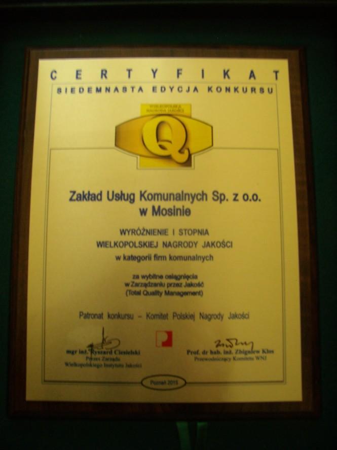 certyfikat ZUK - wyróżnienie I stopnia Wielkopolskiej Nagrody Jakości