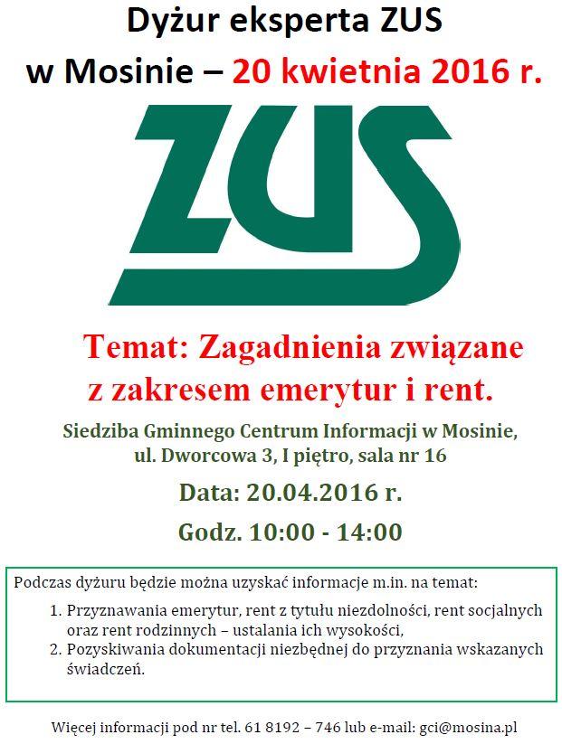 Dyżur eksperta ZUS w Mosinie plakat 20.04