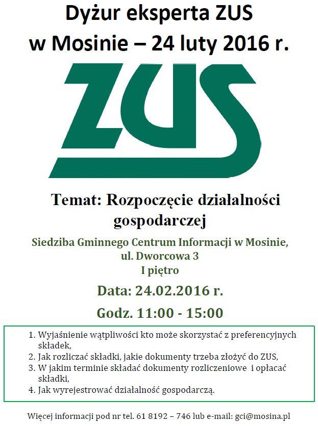Dyżur eksperta ZUS w Mosinie plakat 24.02.2016