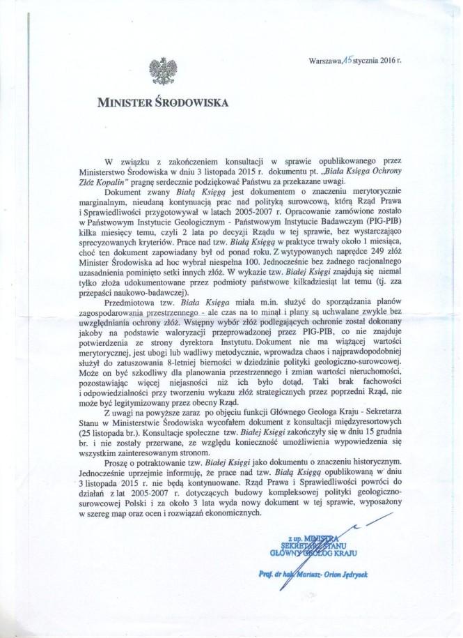 pismo Ministra Środowiska - niepotrzebne zamieszanie wokół kopalin