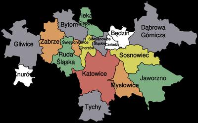 mapa górnośląski okręg przemysłowy