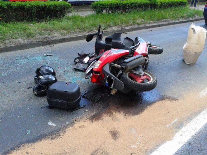 skuter po wypadku w Mosinie