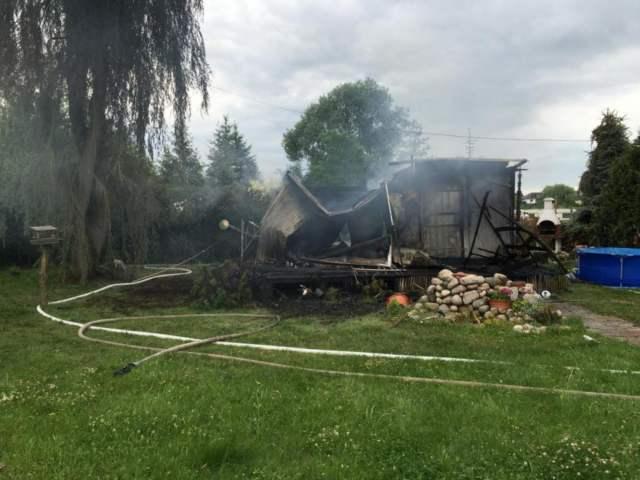 pożar domku letniskowego w Łodzi