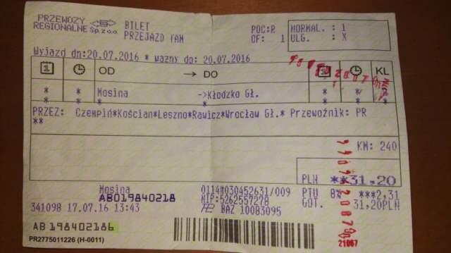 Bilet Mosina - Kłodzko gł (tyle samo ile liczyła trasa biegu