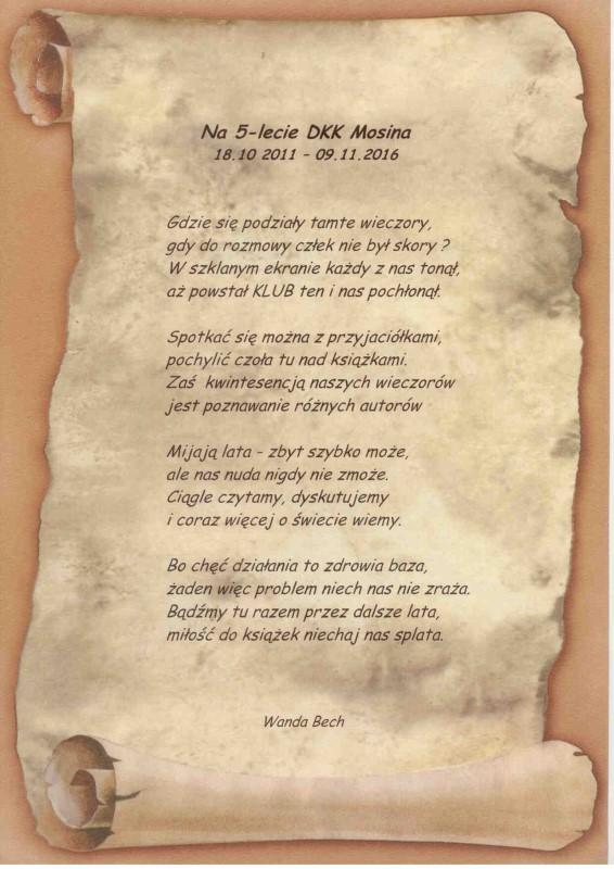 wiersz jednej z uczestniczek klubu - z okazji jubileuszu