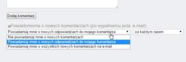 subskrypcja komentarzy rozwijalna lista
