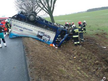 pojazd zepchniety do rowu przez wiatr