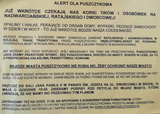 protest mieszkańców Puszczykowa