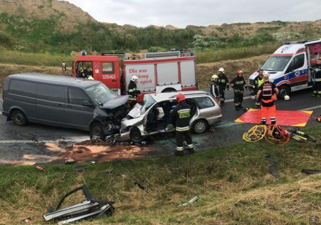 wypadek na DK5 Ochotnicza Straż Pożarna w Stęszewie