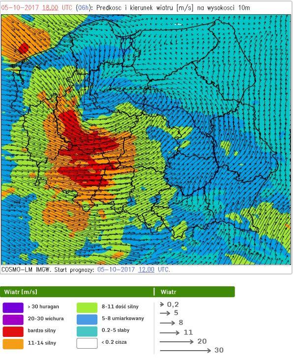 Wiatr w Polsce (5 października 2017 r.)