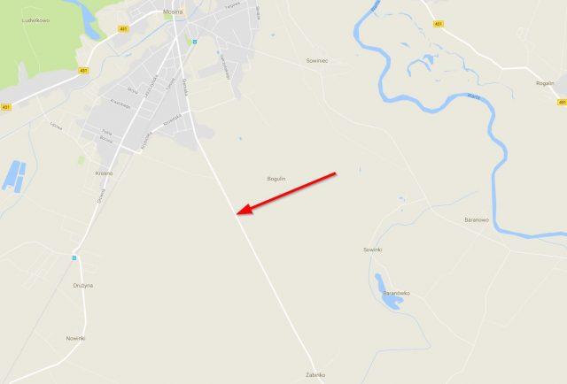 miejsce zdarzenia - trasa Mosina - Żabinko