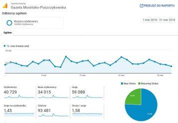 Statystyki odwiedzin serwisu www - dane wg. Google Analytics (miesiąc marzec 2018 r. )