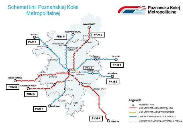 schemat linii PKM Poznańska Kolej Metropolitalna