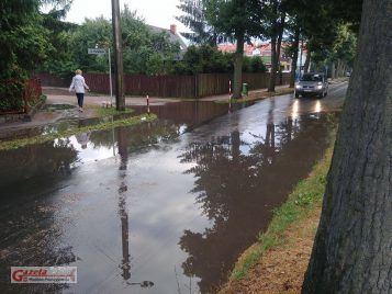 zalana ulica Krosińska w Mosinie
