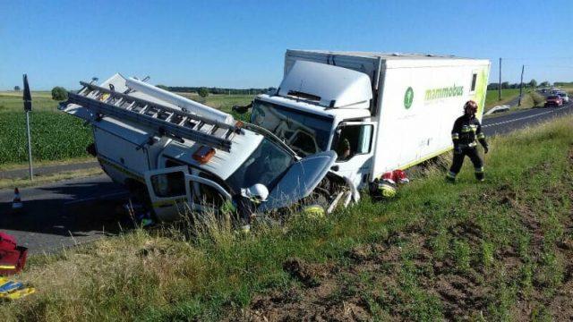 wypadek na trasie Czempiń - Mosina - miejsce wypadku