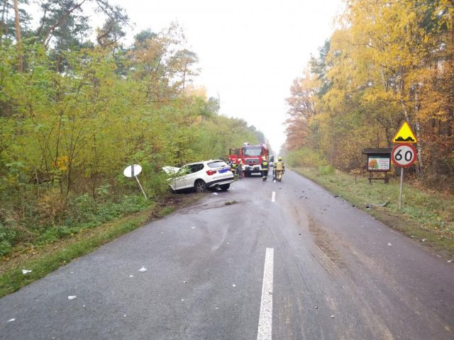Czołówka na trasie Mosina - Żabno, w tym miejscu obowiązuje ograniczenie do 60 km/h