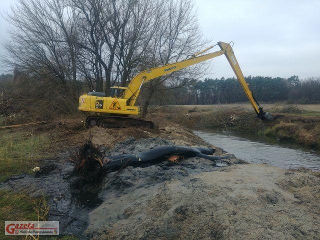 Koparka oczyszczająca nurt rzeki z mułu i powalonych drzew