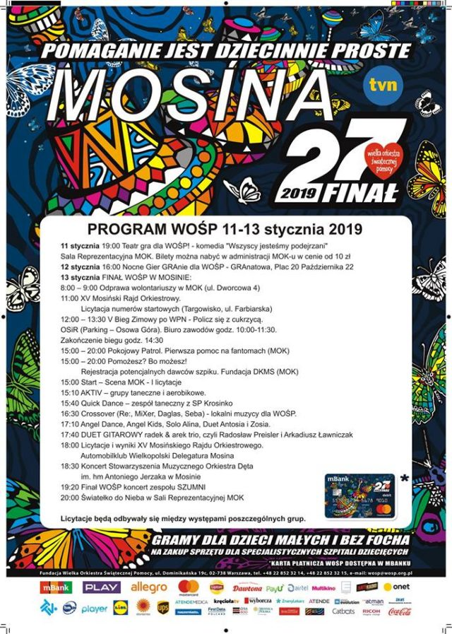 plakat WOŚP Mosina - program
