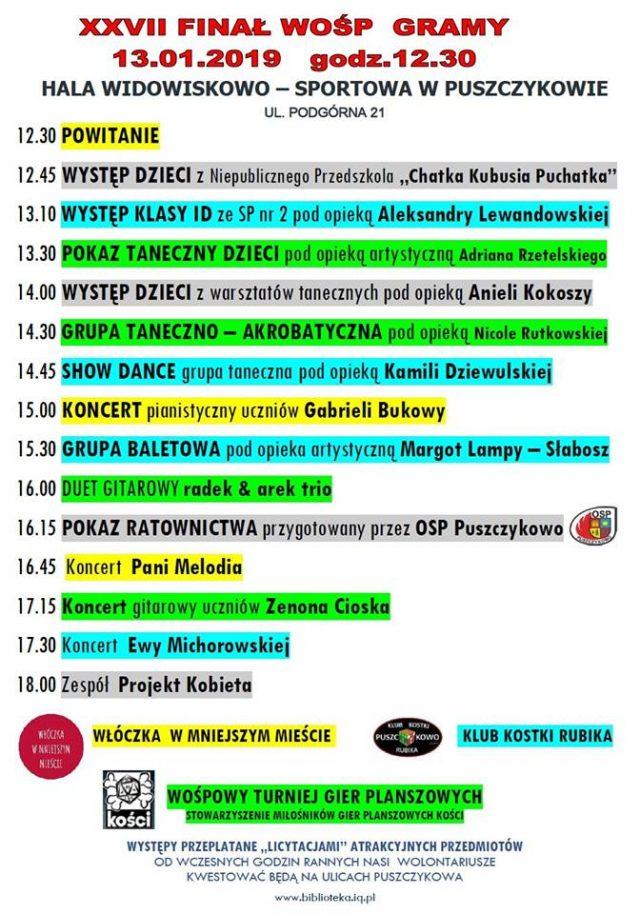 WOŚP Puszczykowo program